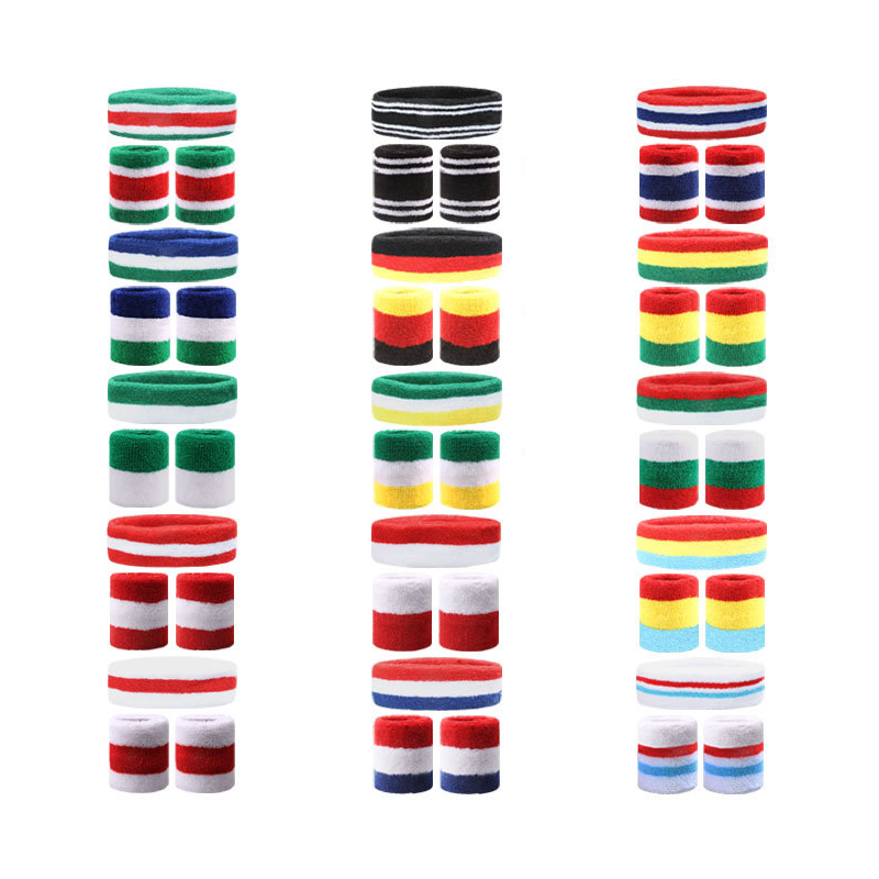 Soft Cotton Sweat-absorbent Headband and Wristband Set for Sports Activities