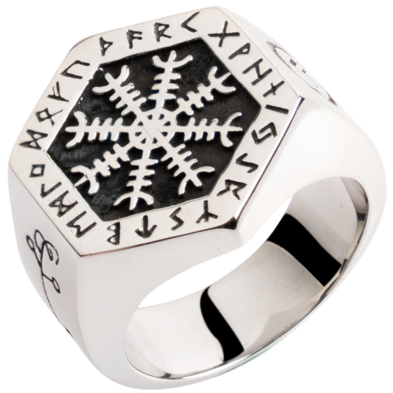 Ornate Snowflake and Runes Ring for Viking Lovers