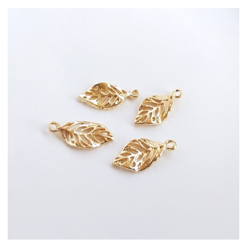 Golden Tropical Leaves Charms for Tropical Accessories