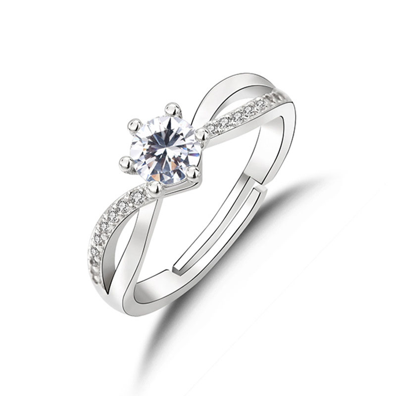 Simple Swirl Adjustable Engagement/Promise Ring for Your Girlfriend
