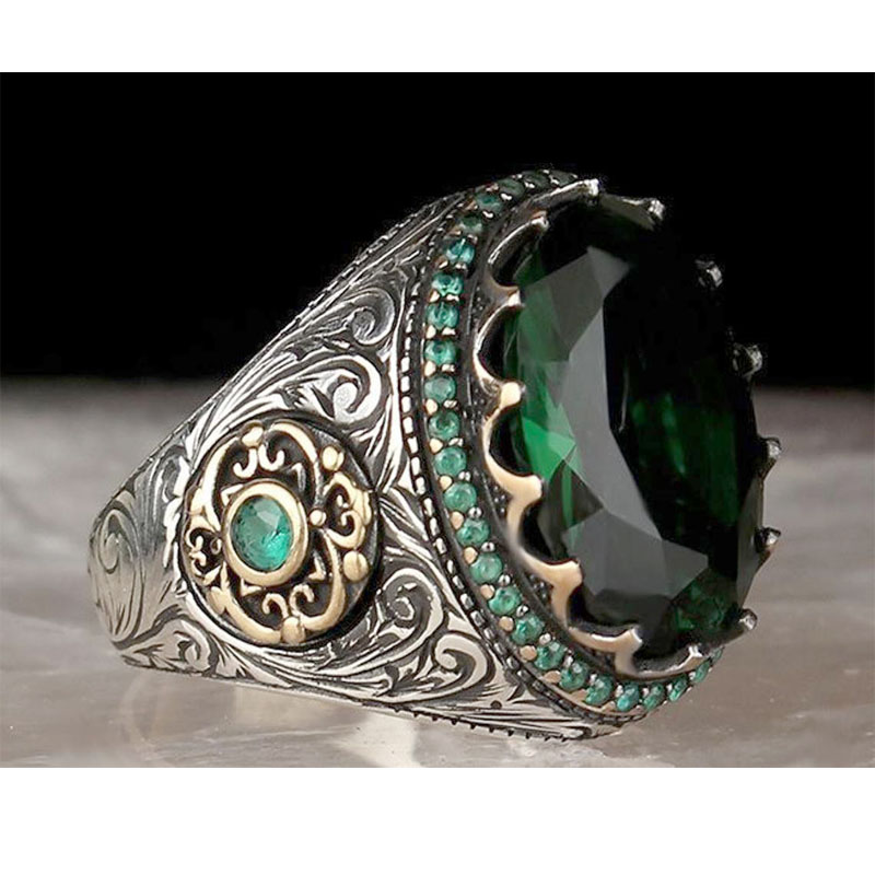 Mystical Faux Emerald/Sapphire Ring for Exuding Power and Wealth