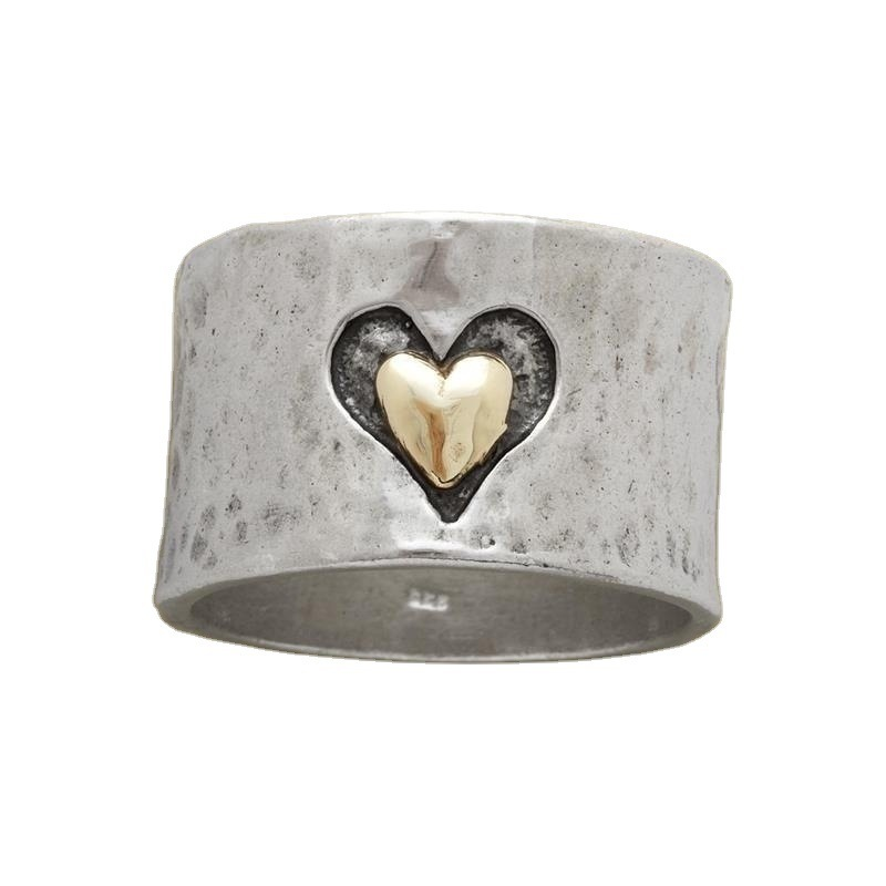 Rustic Alloy Heart Wide Ring for Handicraft Lovers