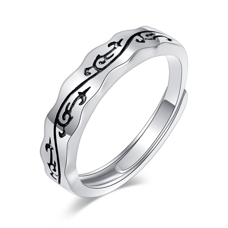 Black Swirls Adjustable Silver Ring for Edgy Yet Classy Looks
