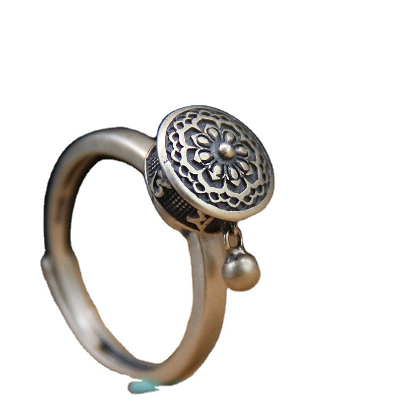 Floral Mandala Silver Ring for Buddhist's Spiritual Protection