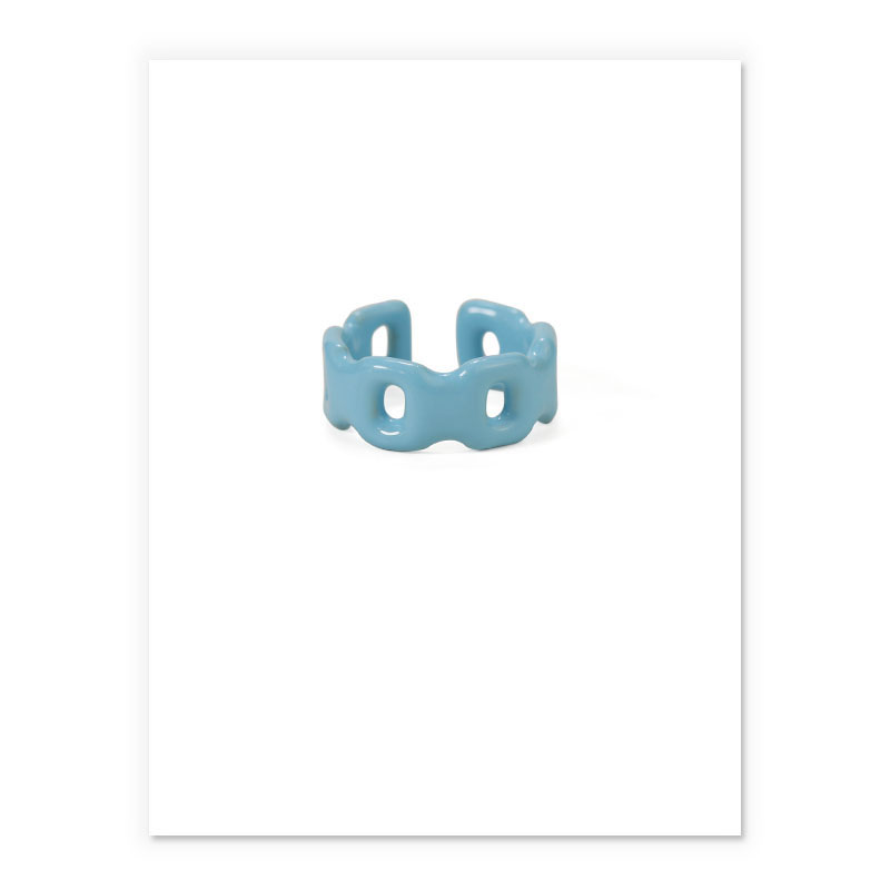 Fun Blue Color-Plated Brass Ring for Pop of Color in Outfits