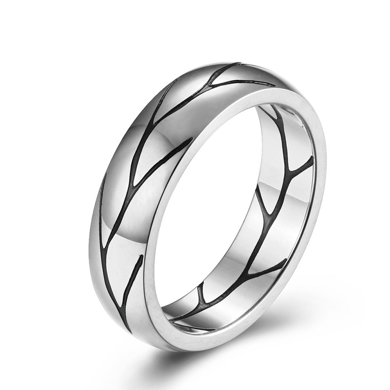 Black Lines Leaf Etching Stainless Steel Ring for Classy Outfits