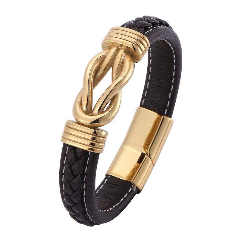 Faux Braided Leather and Golden Rope Knot Bracelet for Gifting to Your Boyfriend