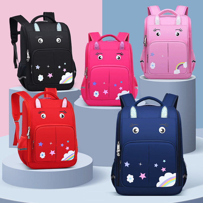 Adorable Cartoon Eye and Rainbow Backpack for Elementary Students
