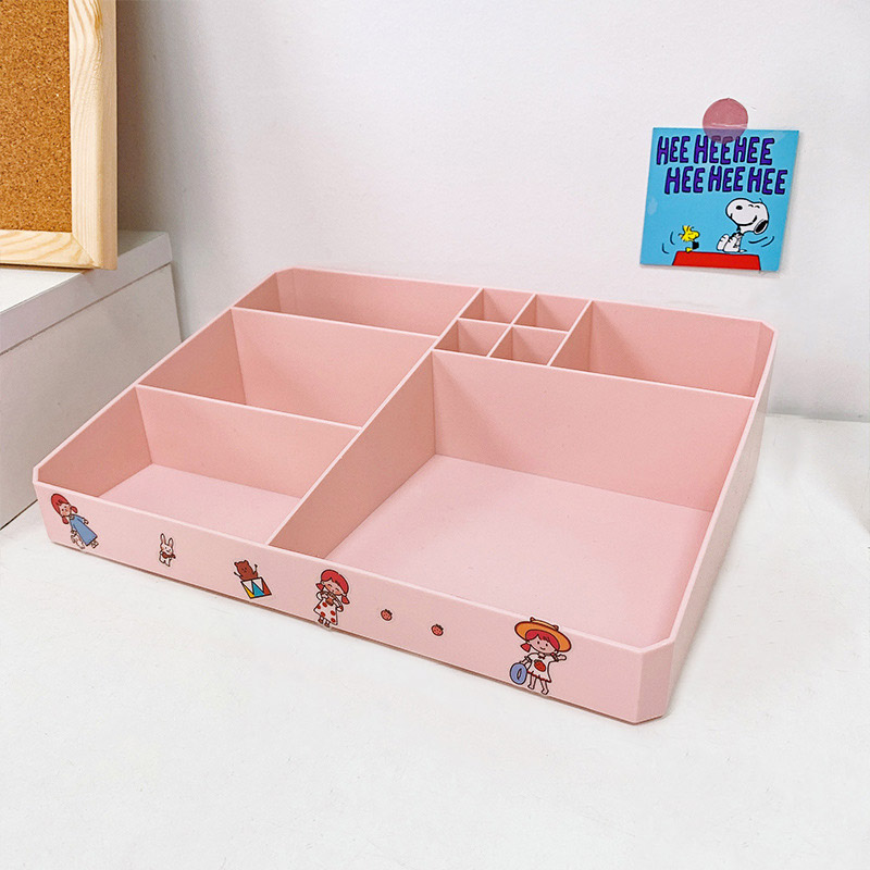 Adorable Cartoon Printed Multi-Layered Storage Box for Tabletop Storage