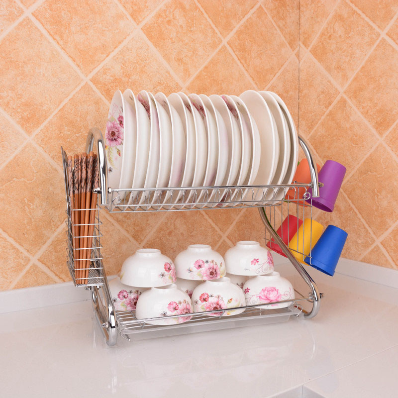 2 Layered Stainless Plate and Glass Storage for Kitchenware