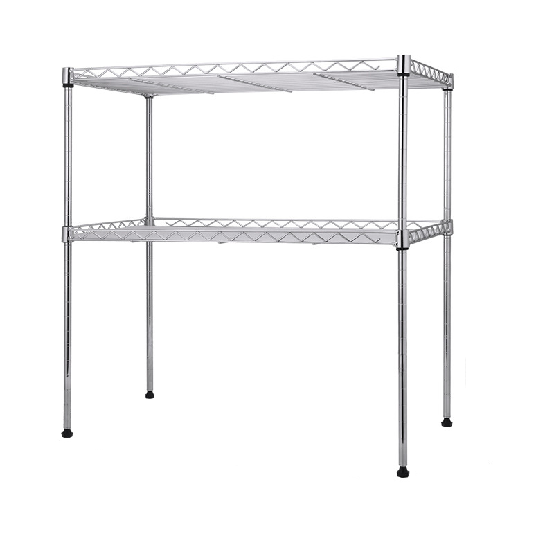 Heavy-Duty Stainless Steel Double-Layered Kitchen Rack for Holding Kitchen Appliances