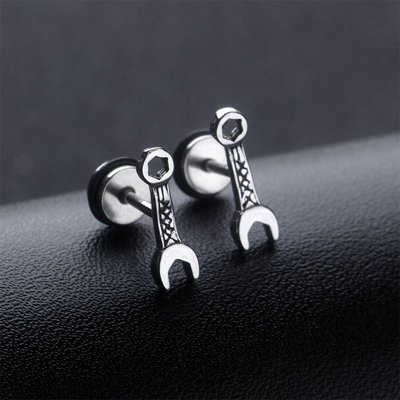 Mini Wrench Stud Earrings for Club Hopping Accessories