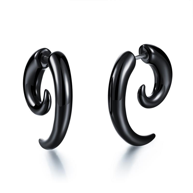 Black Snail Ear Piercing for Punk Look