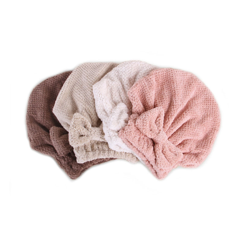 Polyester Hair Cap Towel with Bow Knot for Showers