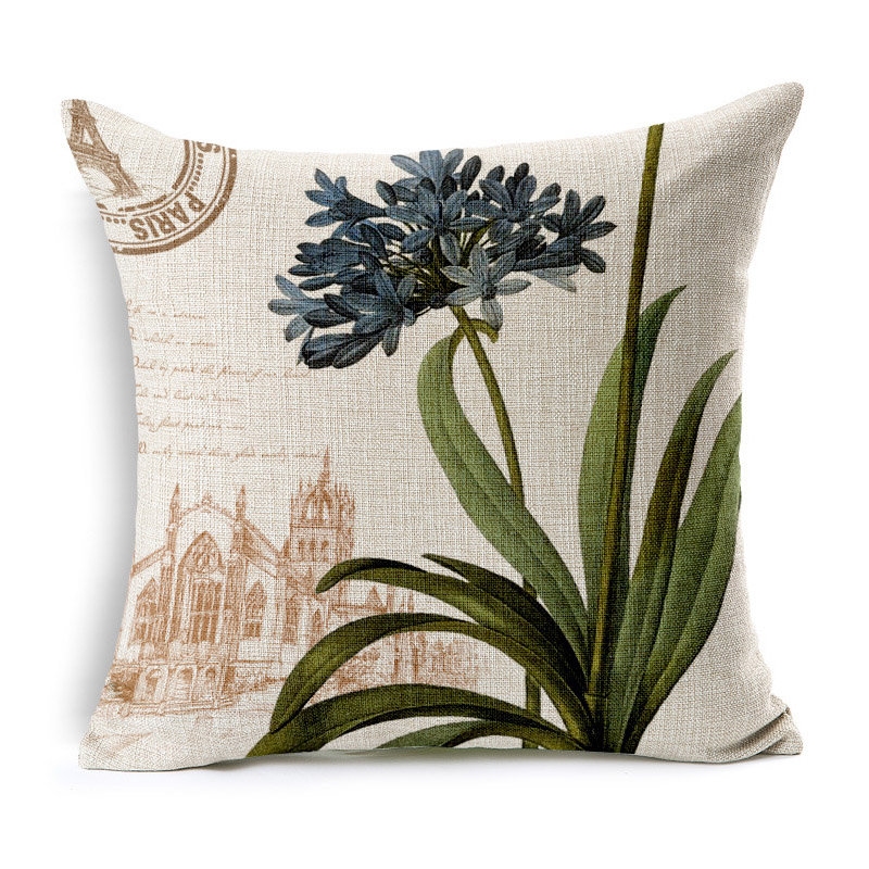 Retro Blooming Flowers Prints Pillowcase for Country Style Receiving Room