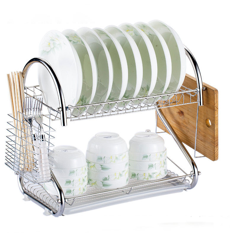 Stainless and Multi-functional Dish Rack for Kitchenware Use