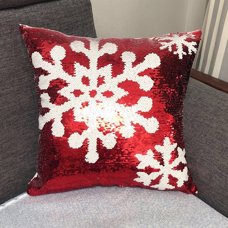 Festive Christmas Sequined Pillowcase for Holiday Decorations