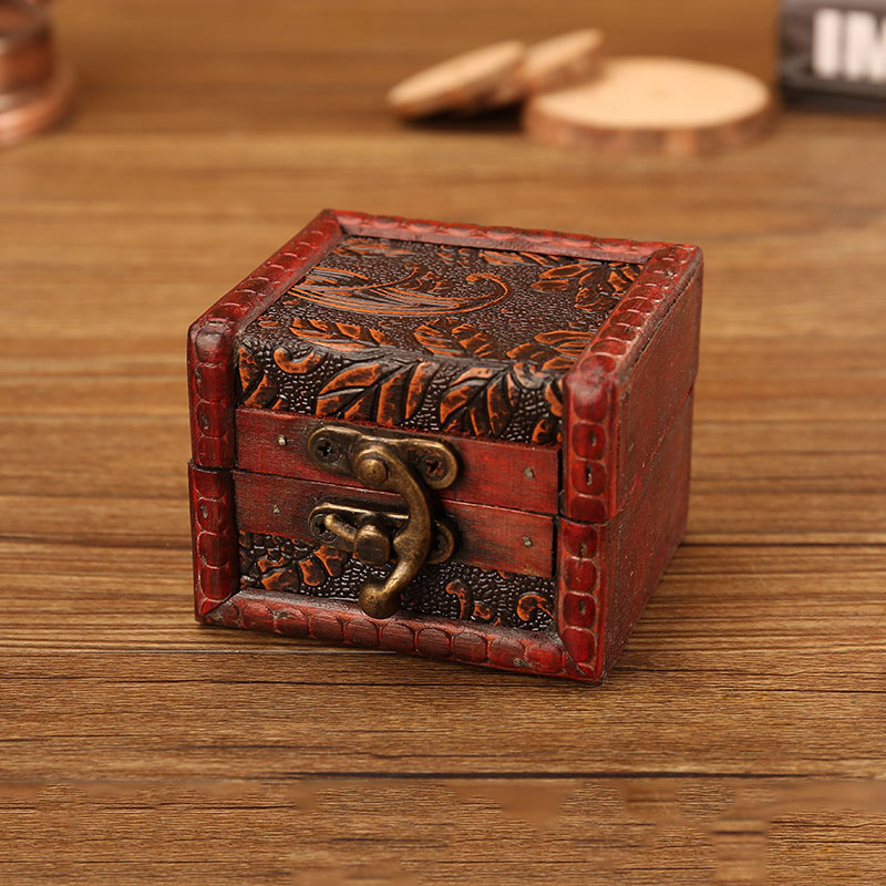 Small Ornate Vintage-Themed Wooden  Antique Jewelry Box for Women