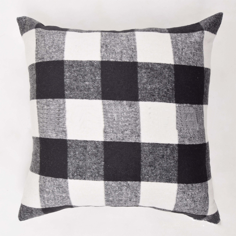 Black and White Plaid Pillow Cover for Office Pillows