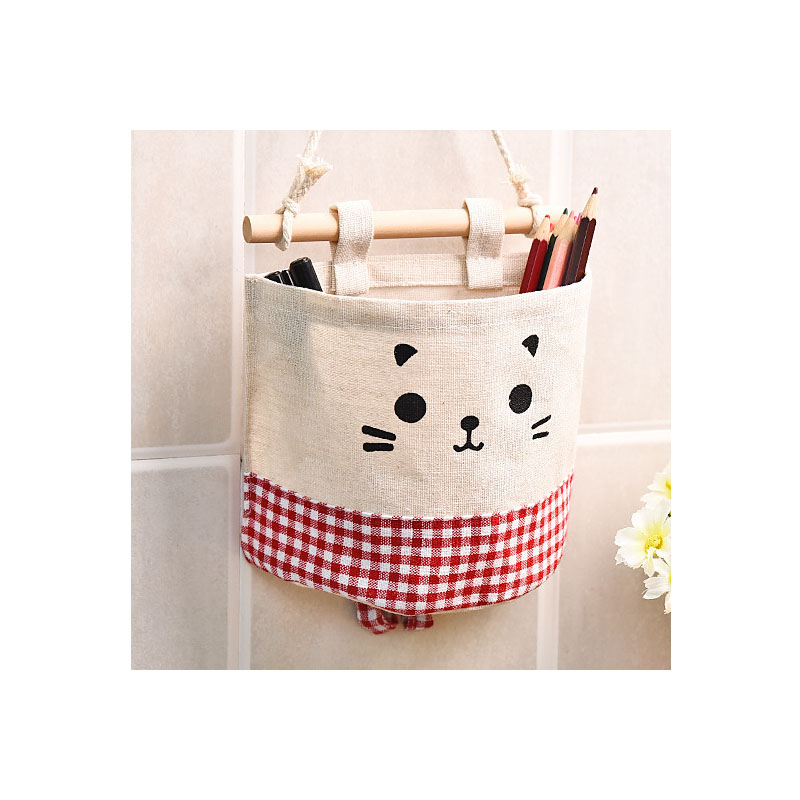 Hanging Cotton Storage Pouch for Bathrooms