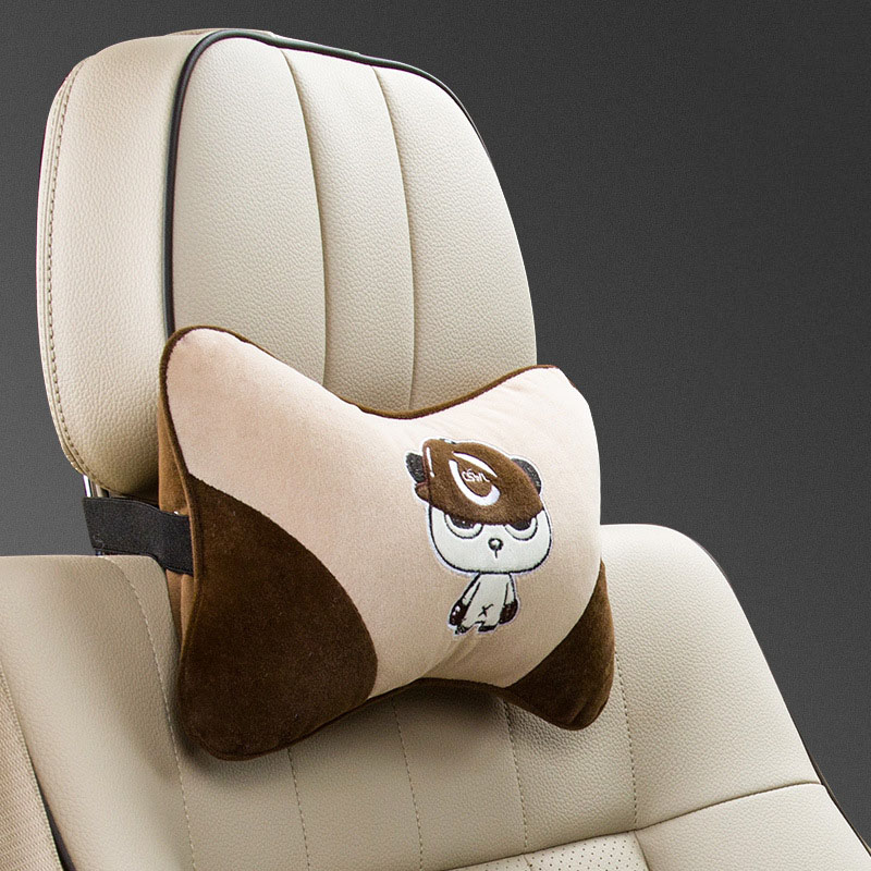 Angry Panda Embroidered Pillows for Car Seat Cushioning