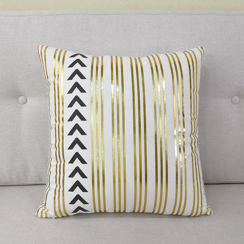 Modern Gold Themed Print Pillowcase for Transitional Style Homes