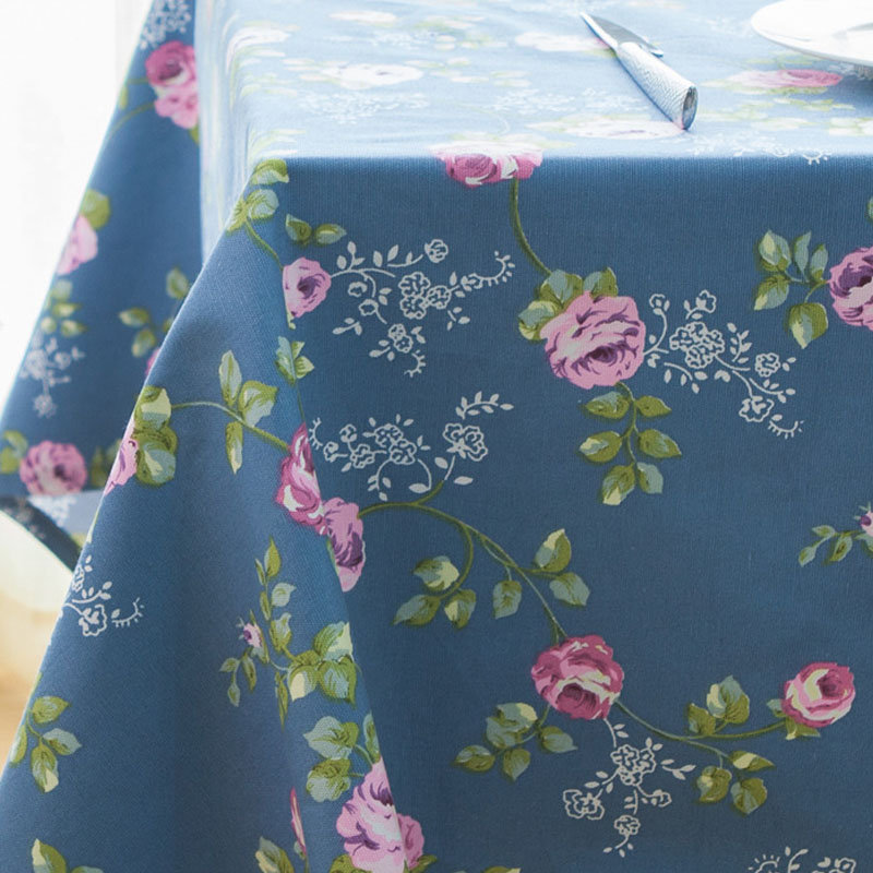Floral Blue Tablecloth for Dining Tables