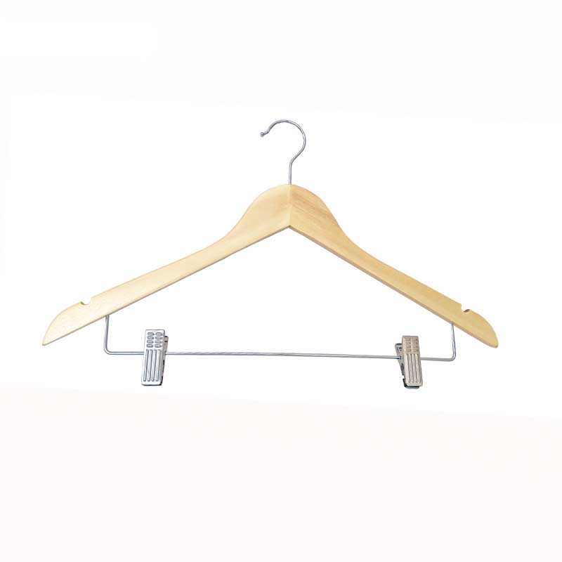 Wooden Clip Hanger with Rotating Hook for Drying Clothes Outdoor