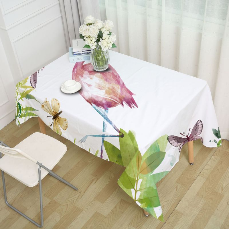 Retro Animals and Flowers Print Tablecloth for Nature Lovers