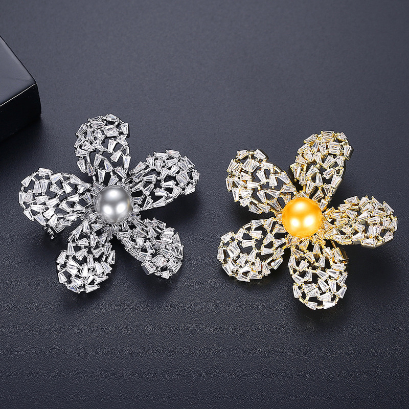 Detailed Sparkling Inlaid Brooch for Clothing Design