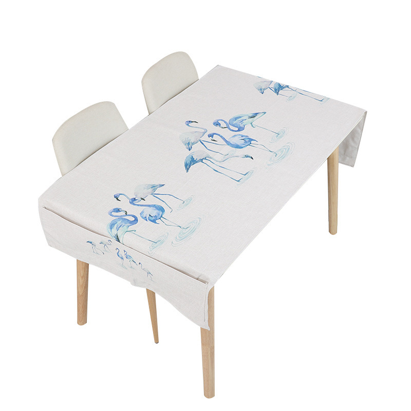 Blue Flamingo on White Tablecloth for Fine Dine Restaurants