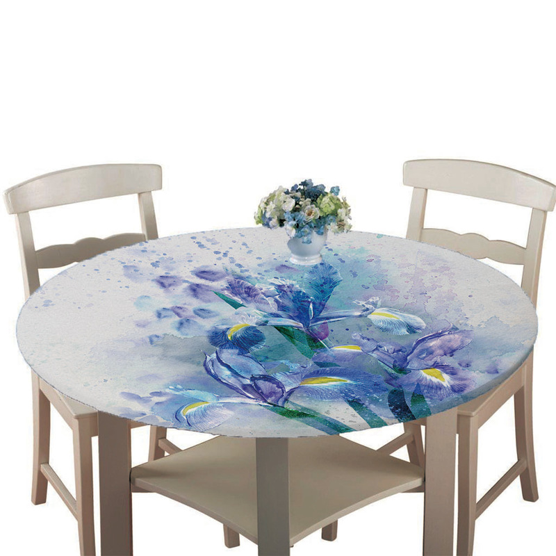 Blue Flowers Tablecloth for Round Tables