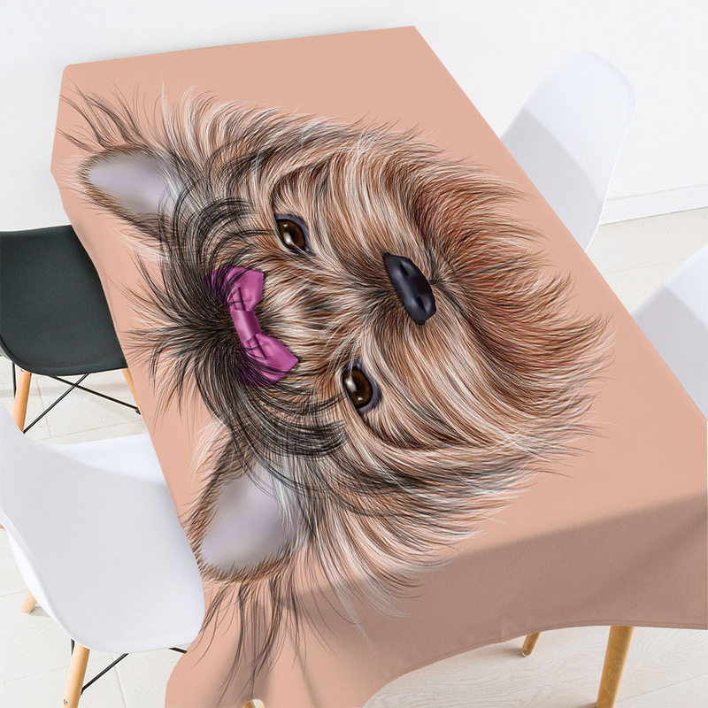 Cute Yorkshire Terrier Tablecloth for Dog Lovers