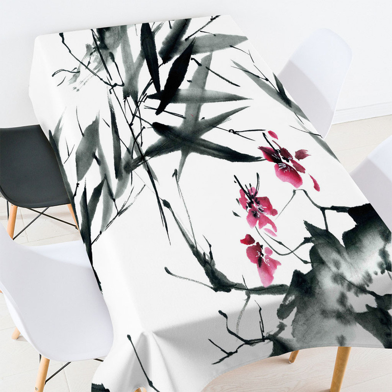 Retro Flower and Bamboo Leaves Print Tablecloth for Vintage Lovers