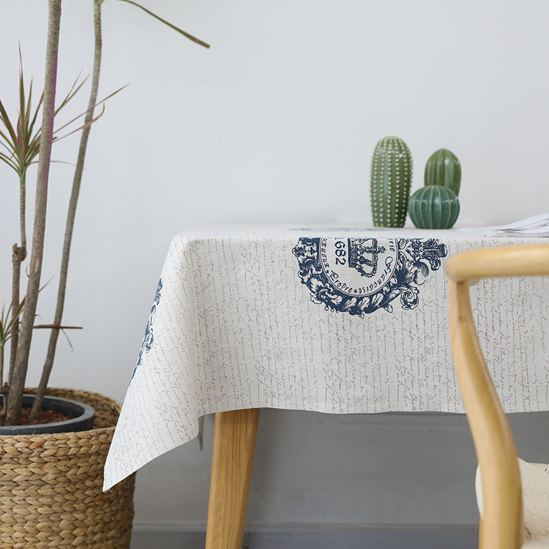Vintage Crown Printed Tablecloth for Coffee Shop