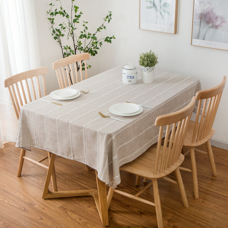 Classic Stripes Cotton Tablecloth for Living Room