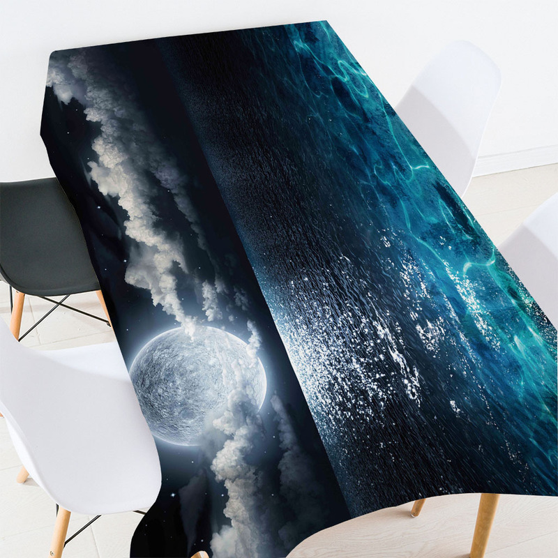 Calming Night Scenery Tablecloth for Moon Lovers