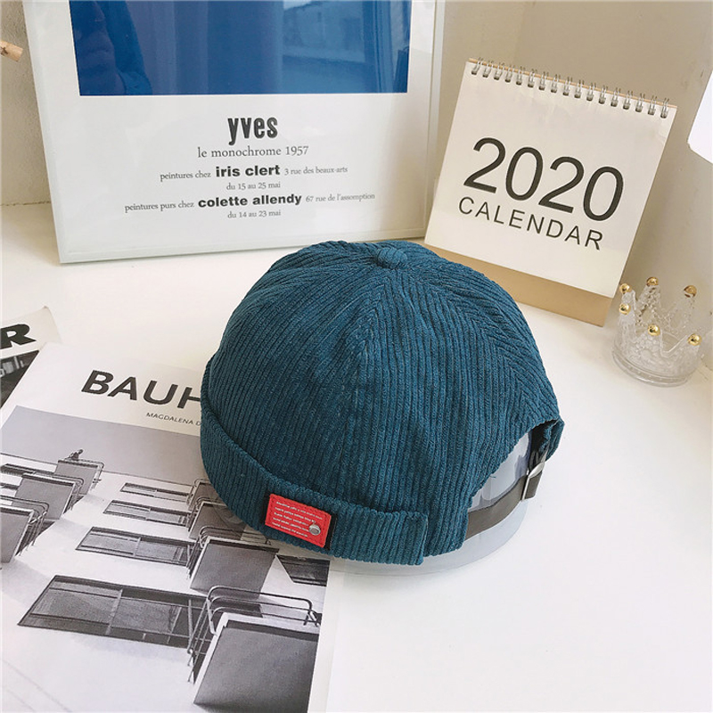 Adjustable Corduroy Brimless Cap for Street Style Outfits
