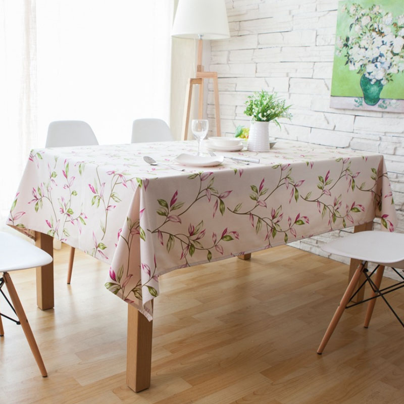 Green and Violet Leaves Print Tablecloth for Restaurants
