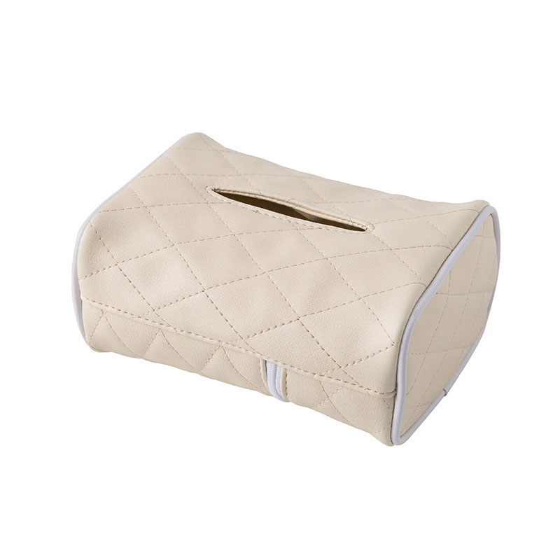 Diamond Pattern Faux Leather Tissue Holder for Cars
