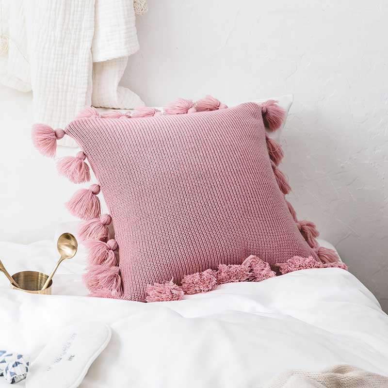 Knitted Square Pillow with Tassels for Couch