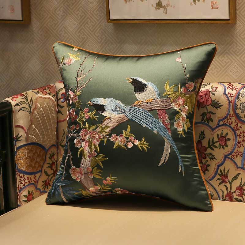Classy Embroidered Birds and Branch Pillowcase for Gifting