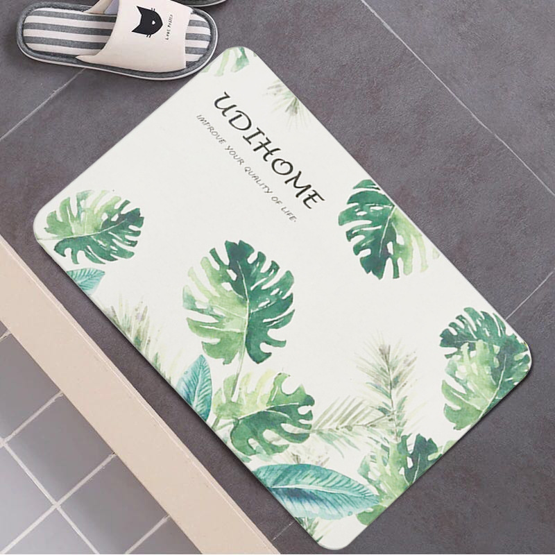 Absorbent Tropical Vibe Floor Mats for Shower Room