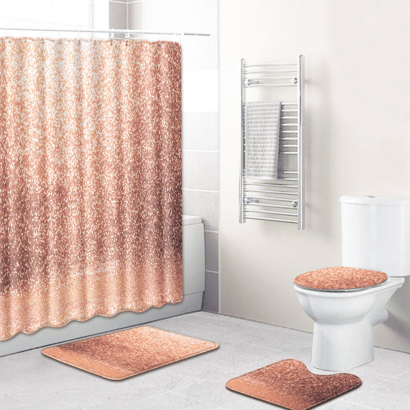 Absorbent Bath Rug with Shower Curtain (4 Pieces/Set) for Bathroom