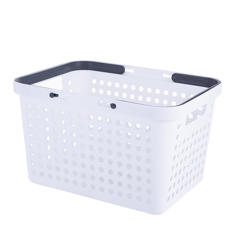 Wide Polypropylene Basket with Handle for Storing Clothes