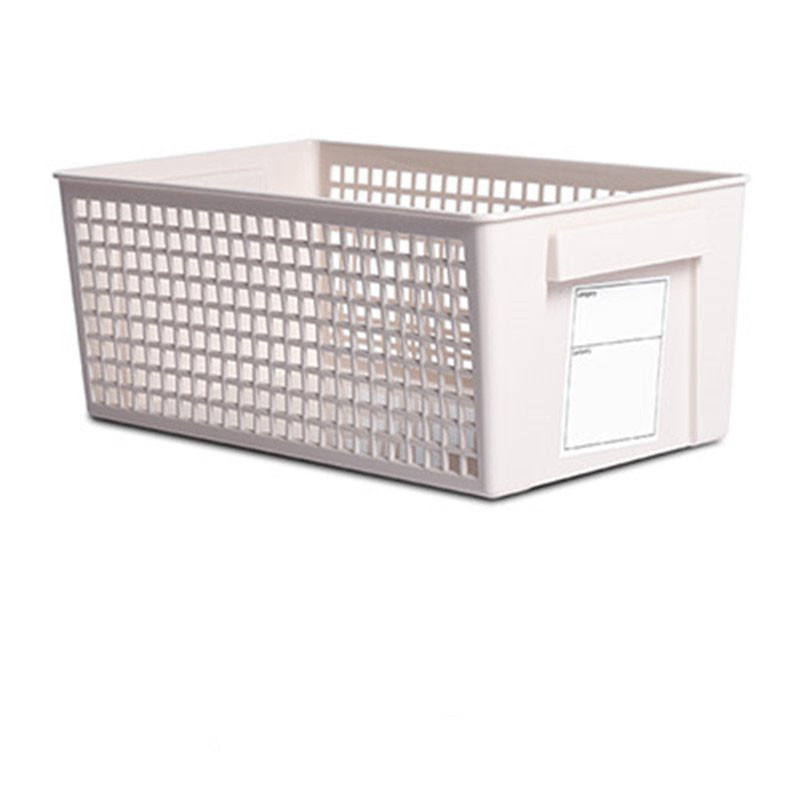 White Storage Basket with Labels for Organized Drawers