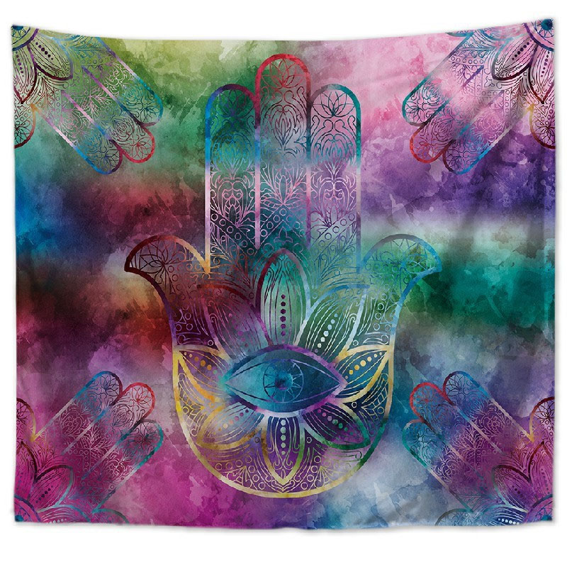 Abstract Palm and Eye Tapestry for Living Room Decoration