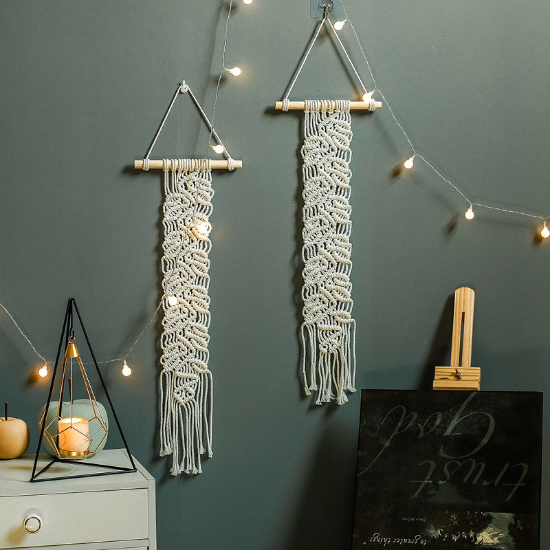 Simple Leaves Macrame Tapestry for Night Market Items