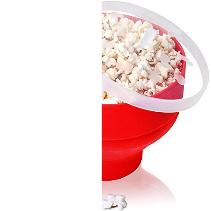 Folding Silicone Popcorn Bucket with Lid for Dining