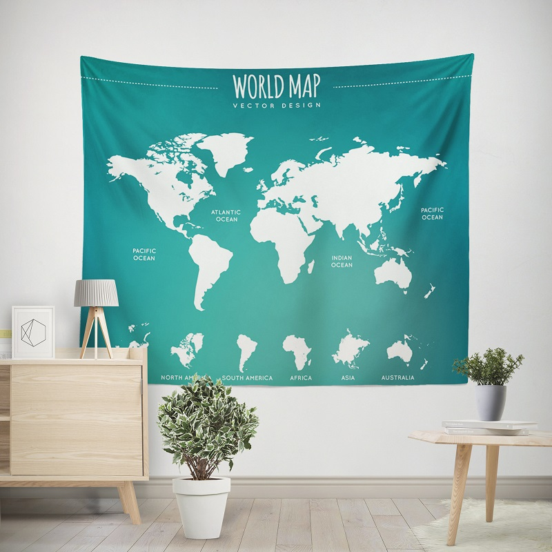 Adorable Colorful World Map Tapestry for Living Room